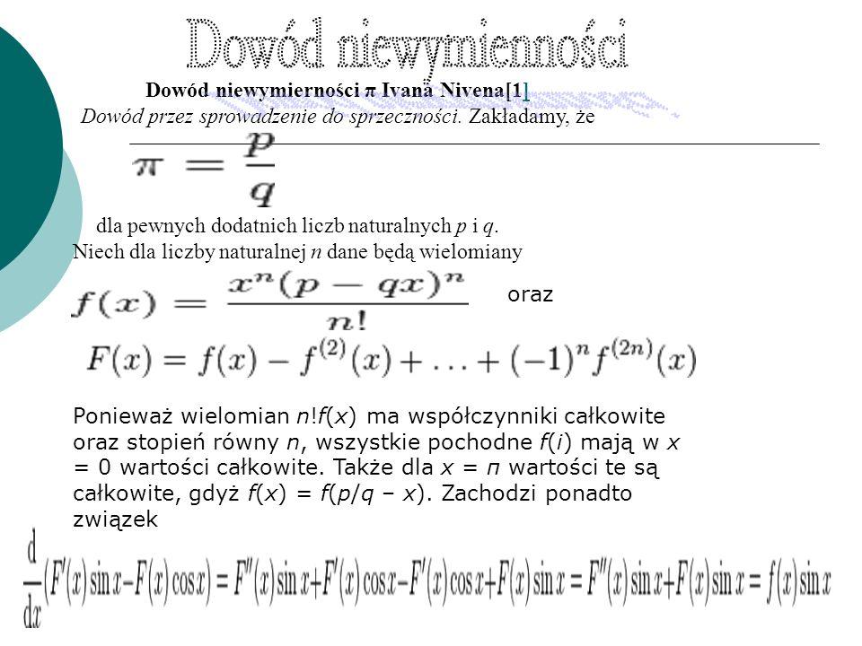 Dowód niewymierności π Ivana Nivena[1]